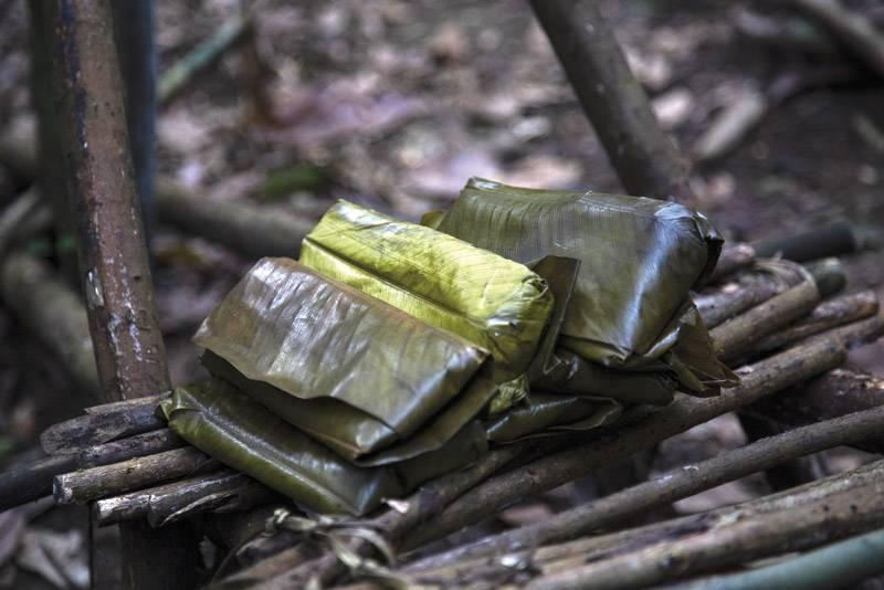 Le chikwangue est un aliment de base en forêt, et dès qu'on s'y déplace quasiment le seul emporté. ©Laurence Vanderhaeghen